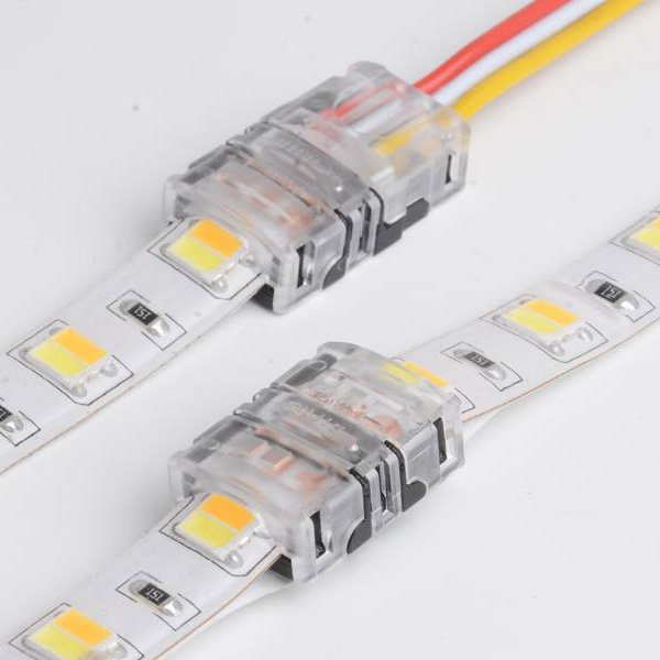 10mm 3pin led light strip connectors for dual color dimmable CCT strip light connection IP65 waterproof dj-n10xb-3